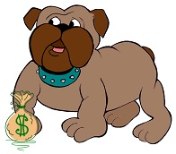 Picture of a brown light dog with a bag of dollars