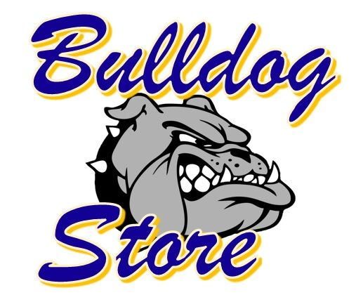 Image of our bulldog store written with blue and yellow letters.